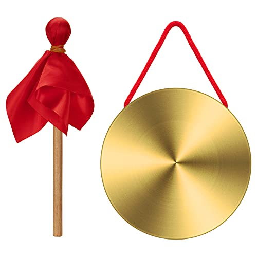 WIFUN Brass Copper Hand Gong, 15cm Brass Gong with Round Playing Hammer Used for...