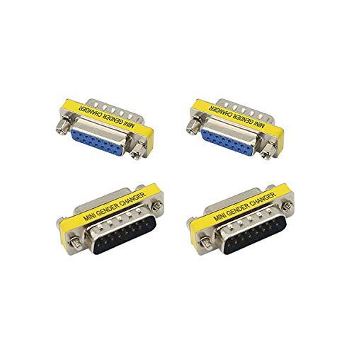 Adaptador DB15 YAODHAOD Acoplador DSUB de Puerto Serie Macho a Hembra de 15 Pines y 2 Filas - DSUB - RS232 - D15 - Convertidor de Cable - Adaptador de Puerto, para Cable Plano