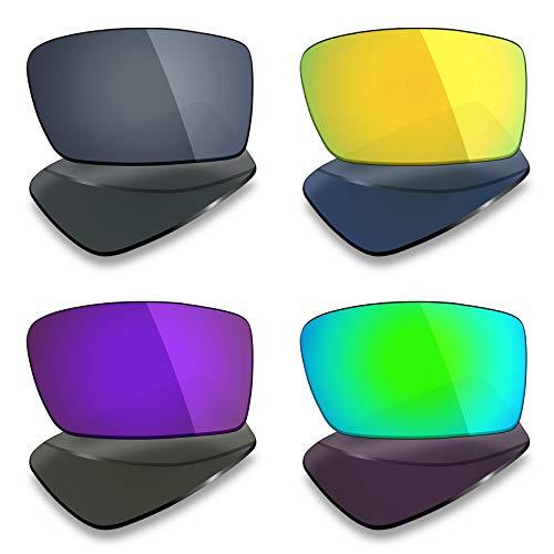 Mryok Lot de 4 paires de verres polarisés de rechange pour lunettes de soleil Oakley Gascan – Noir IR/or 24 carats/violet plasma/vert émeraude