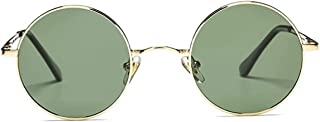 fiko - Gafas de Sol Polarizadas para Hombre y Mujer estilo Retro Vintage Redondas Unisex Círculo Metálico Hippie Steampunk Protección UV400 (VERDE)