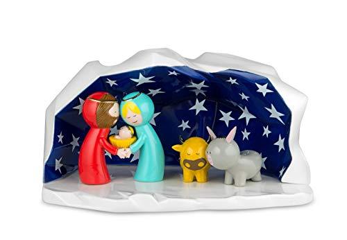 Alessi AGJ01 W Happy Eternity Design Weihnachtskrippe mit Heilige Familie Figuren, handdekoriertes Porzellan, 5-teilig