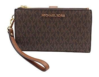 Michael Kors Jet Set Travel Double Zip Wristlet - Signature PVC  Brown PVC/Dark Acorn