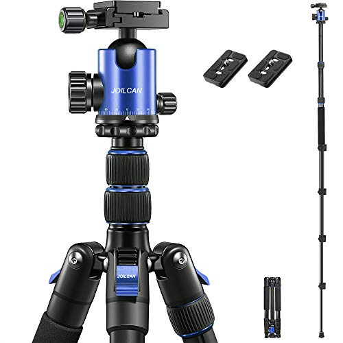 "JOILCAN 81"" Tripod, Aluminum Camera Tripod for DSLR, Compact Tripod Monopod 360° Panorama Ball Head with 2 Quick Release Plates, 16.5"" When Folded, 24 lbs Loads - Blue"