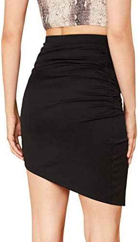 SheIn Womens High Waist Wrap Ruched Side Asymmetrical Hem Bodycon Mini Skirt