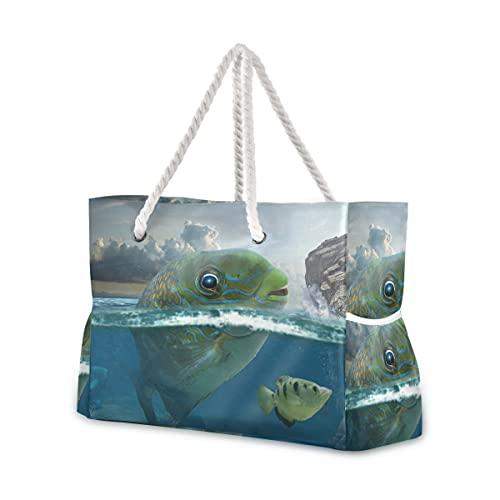 Bolsas de playa grandes Totes de lona Bolsa de hombro Undersea World...