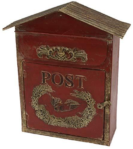 ETC dekorativer Briefkasten Zettelbox Metall weinrot Shabby Antique Style Used Look