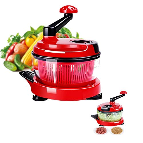TXOZ Salad Spinner Fruits and Vegetables Dryer Quick One Hand Pump Operation, Heavy Duty Chopper/Cutter, Chops Vegetable,Nuts,Herbs, with Built-in Egg White Separator