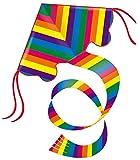 Aquilone monofilo Con maniglia, cavo e coda lunga 1,5 m Vento: 15-45 km/h Dimensioni: circa 97 x 58 cm