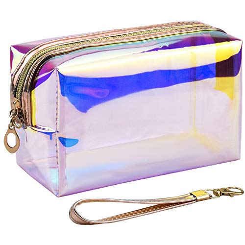 Make up Bag Clear Travel Cosmetic Bag Makeup Pouch Iridescent Toiletry Bag Portable Wash Bag Colorful Laser Storage Organizer Bag Made of Waterproof TPU with Zipper & Handle for Women and Girls