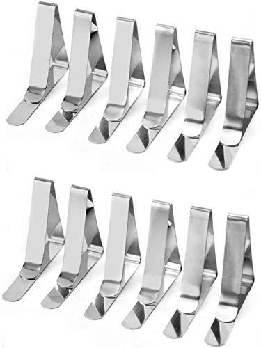 Clips para mantel de acero, plateado, acero inoxidable, soporte para manteles, antideslizante, para mantel, de acero inoxidable de alta resistencia, ideal para picnics, fiestas de carpa (12 piezas)