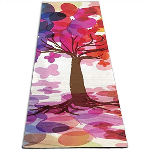 Alfombra de yoga con estampado de mariposas de 5 mm de grosor, antideslizante, para todo tipo de yoga, pilates y ejercicios de suelo (180 cm x 61 cm x 0,5 cm)
