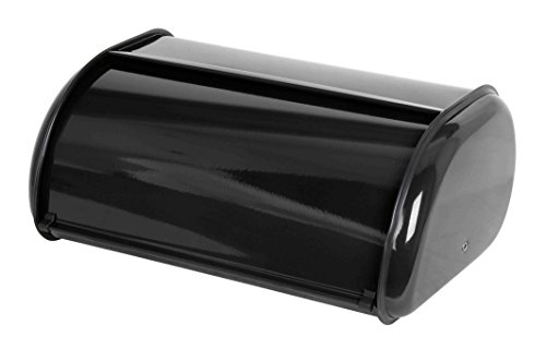 Home Basics Stainless Steel Bread Box with Roll Up Lid, For Easy Kitchen Counter Storage, Bread Bin Holder, Black
