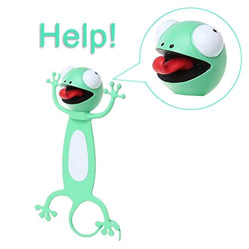 TONGXU Marcapáginas de Dibujos Animados de 3D Animales Marcadores de Lectura para Libro para Estudiantes Oficina Papelería Regalo Ideal para Niños Niñas (Lagartija)