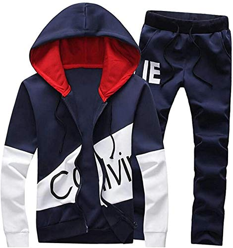 sanuo Men's Hoodie Vogue Footed Slim Fit Jacket Sport Tracksuit Set,Blue,X-Small