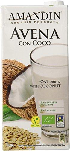 Amandin 400088 Bebida de Avena con Coco - Paquete de 6 x 1000 ml - Total: 6000 ml