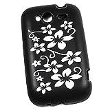 So'axess SILHTWILDS-31 - Carcasa de silicona para HTC Wildfire S, diseño de flores, color negro