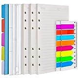 Set di 3 ricambi di fogli formato A6, inserti per agenda personale per quaderno diario, divisori per raccoglitori 5 pezzi, tasche raccoglitore 3 pezzi-carta a righe