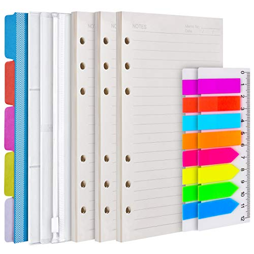 A6 Refill Paper, 3 Pack 6 Ring Planner Binder refillable, 5pcs Binder Dividers, 3pcs Binder Pockets, 160 Pieces Index Tabs with Ruler, Personal Planner Inserts for Journal Notebook