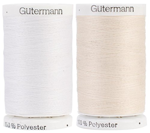 Egg Shell & Nu-White 2-Pack Bundle of Gutermann Sew-All Thread - 547 Yards Each