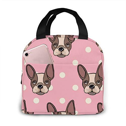 U Shape Tragbare Lunch Tasche Hunderasse Mops mit Tupfen wasserdichte Isolierte Kühler Einkaufstasche für Reise Picknick Arbeit