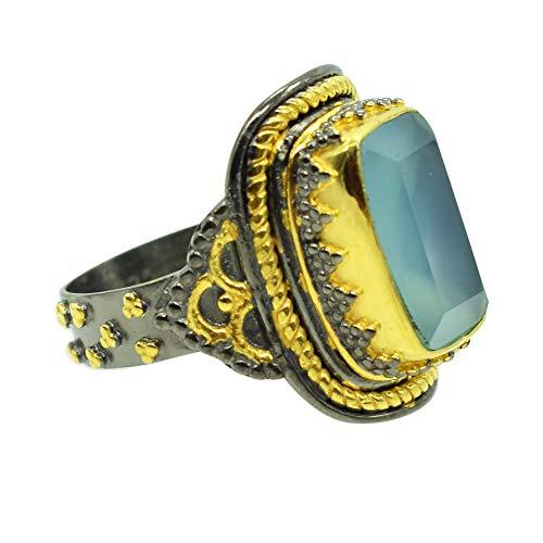 Ravishing Impressions Jewellery Anillo de plata de ley 925 chapado en oro y rodio negro chapado en calcedonia, joyería de moda para mujer, Piedra, Chalcedony,