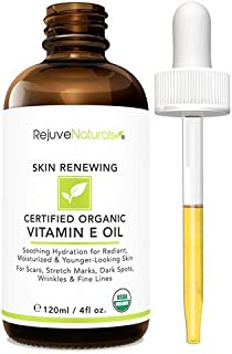 Vitamin E Oil - 100% All Natural & Organic, 75,000 IU (LARGE 4oz Bottle) Visibly Reduce the Look of Scars, Stretch Marks, ...