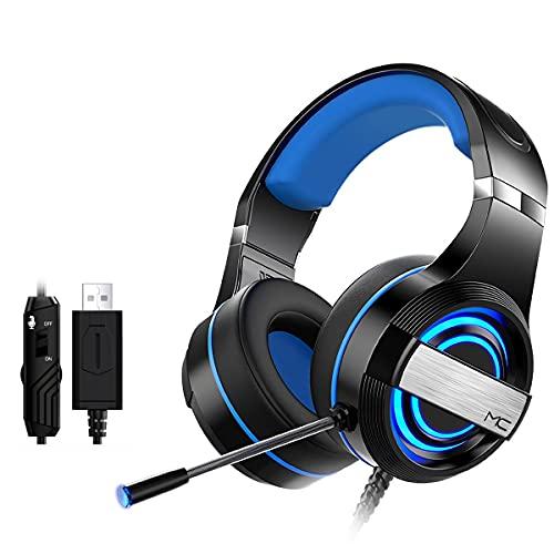 XiaoMall MC Q9 - Auriculares con cable USB 7.1 canales 4D sonido envolvente 50 mm controlador RGB Gaming Headset con micrófono para ordenador PC Gamer - blanco 7.1 canales + USB-negro