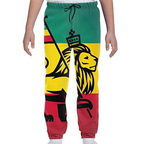 Jugend Jogginghose Jogging Bottom Sport oder Loungewear Hose, Judah Lion A Rastafari Flagge König Dschungel Reggae Thema Kunstdruck Trainingsanzug Hosen für Jungen Mädchen Teenager