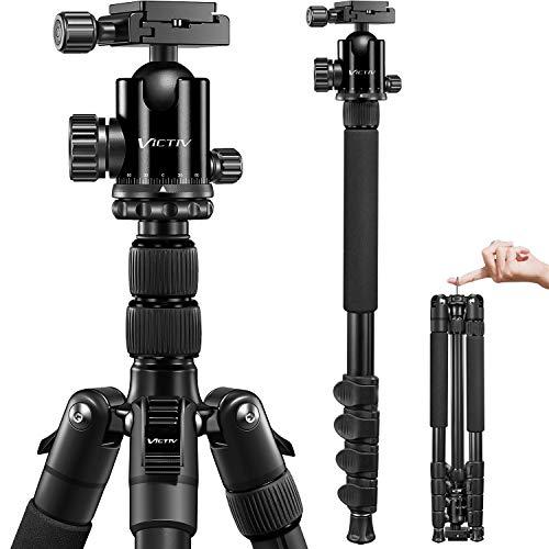 Victiv 205cm Kamera Stativ, Aluminiumlegierung Reisestativ Stativ, Kugelkopf mit 36 mm Ladegewicht 10 kg, Abnehmbar Einbeinstativ mit Tragetasche - Schwarz