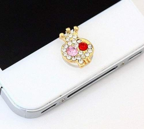 Top-ishop Crystal Rhinestone Iphone Home Button Sticker in Clear Plastic Bag (Color Send in Random) (skull home button1)