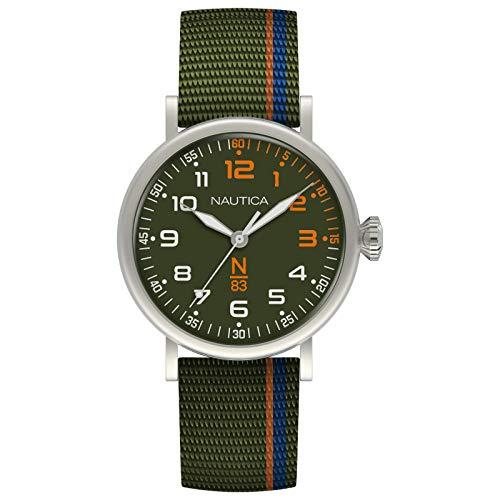 Nautica N83 Men's NAPWLS909 Wakeland Green/Blue/Orange Stripe Fabric Strap Watch