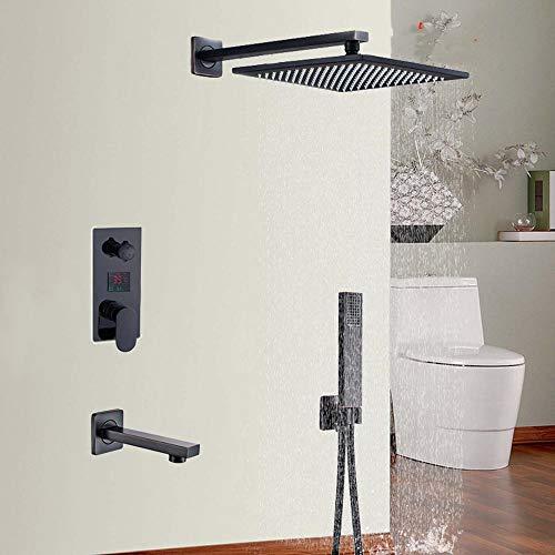 DAMO&GUYAN 8 10 12 16 '' Grifo de Ducha de baño Negro, Cabezal de Ducha de Lluvia de 3 vías montado en la Pared Caja integrada Pantalla Digital,8 Pulgadas