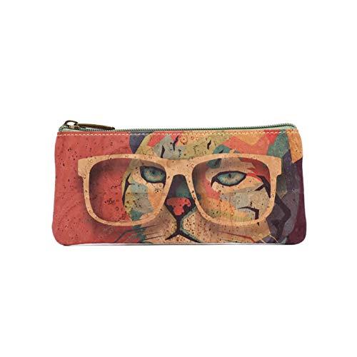 Funda para gafas de corcho natural, diseño colorido alegre y original, confeccionada con el mejor corcho portugués , diseñada en España (GATO B)