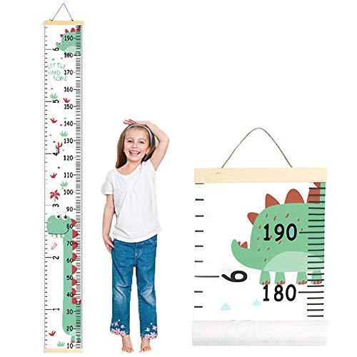 INTVN Messlatte Kinder, Decor Abnehmbare Wasserdichte Höhe Wachstum Diagramm Leinwand Messlatte Nettes Dinosauriermuster als Perfekte Wand-Aufrollbare Aufhängen Messlatte Lineal für Kinderzimmer