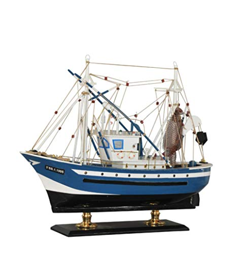 M & A Maqueta para adultos, 60 cm, madera, barco pescador, decoración hecha a mano, modelo de barco para hacer accesorios creativos para el hogar, regalos de madera y artesanías, color rojo