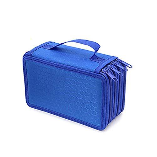 Symboat 4 Pisos Estuche Caja Nailon Colores Vivos con Cremallera a Prueba de Choques Boli Funda Bolso Brocha de Maquillaje Bolsa Almacenaje - Azul