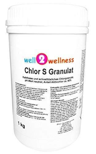well2wellness Chlor S Granulat - schnell lösliches Chlorgranulat mit über 60% Aktivchlor, 1,0 kg
