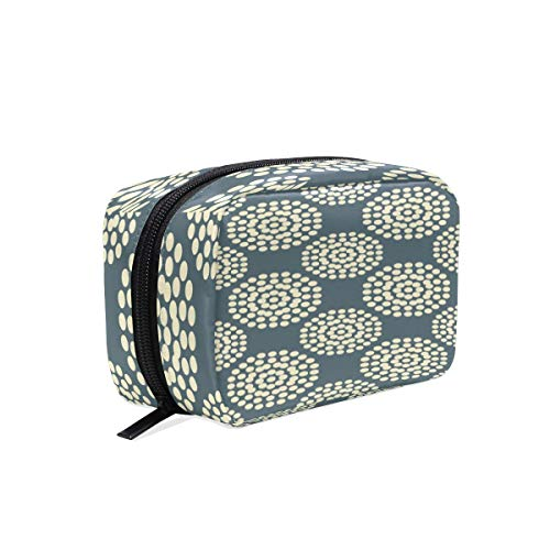 Cosmetic Bag with Zipper Dot Floral Flower Clutch Travel Storage Bag Organizer Case for Women Makeup Pouch Bag