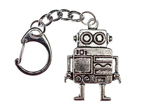 Miniblings Roboter Schlüsselanhänger Steampunk XL Silber - Handmade Modeschmuck I I Anhänger Schlüsselring Schlüsselband Keyring