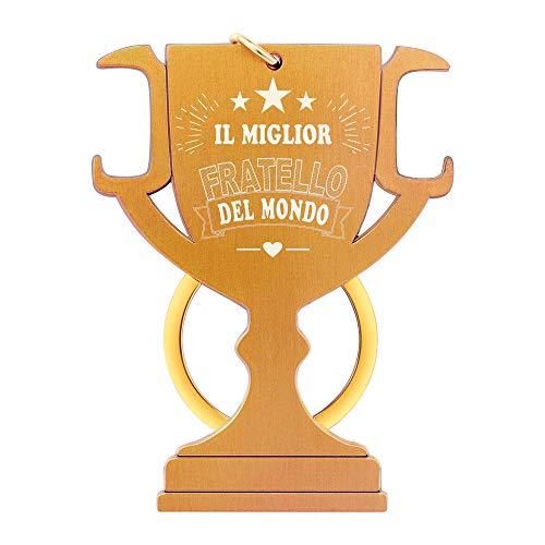 ENGSWA Portachiavi Apribottiglia di Trofeo in Acciaio Inox Regalo con Incisione Il Miglior Fratello del Mondo