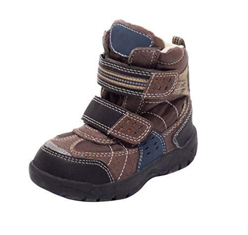 Dynamic24 Thermolaarzen voor kinderen, klittenband, sneeuwlaarzen, winter boots met klittenbandsluiting, voor jongens en meisjes, model lila en bruin, maat 23 – 25.