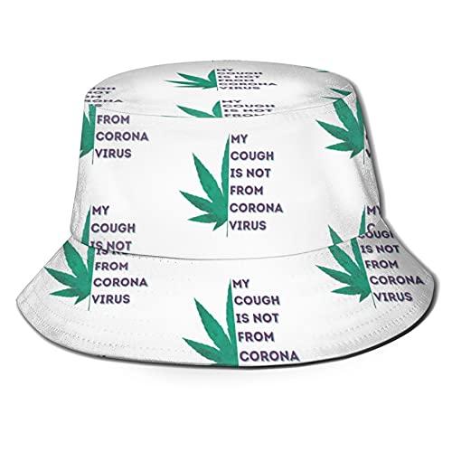 My Cough is Not from C.oronavirus,Weed Smoking Bucket Hat, Sun Hat,Bucket Hats for Men, Fisherman Cap UV Protection Black