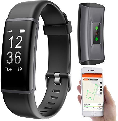 PEARL Fitnessarmband mit GPS: Fitness-Armband, GPS-Streckenverlauf, Puls, 13 Sportarten, App, IP67 (Smartwatch Streckenaufzeichnung)
