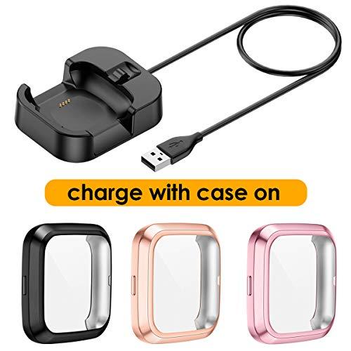 KIMILAR 1 Pcs Ladekabel + 3 Pcs Schutzhülle Kompatibel mit Fitbit Versa 2 (Kann mit Case Aufladen), [1+3 Pack] Ladestation Ladegerät Kabel mit TPU Hülle Schutzfolie Cover Case für Versa 2