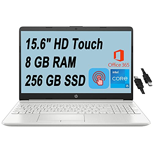 "2021 Flagship HP 15 Business Laptop Computer 15.6"" HD Touchscreen 11th Gen Intel Quad-Core i5-1135G7 (Beats i7-10510U) 8GB RAM 256GB SSD Backlit Keyboard USB-C Office365 Win10 + iCarp HDMI Cable"