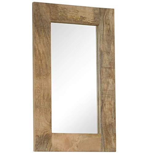 Festnigh Specchio da Parete, Specchi da Bagno, Specchio in Legno Massello di Mango 50x80 cm