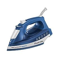 Russell Hobbs Light & Easy Brights - Plancha de Ropa de Vapor (2400W, Suela de Cerámica Coloreada, Azul)