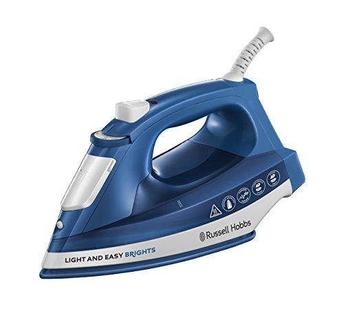 Russell Hobbs Light & Easy Brights - Plancha de Ropa de Vapor (2400W, Suela de Cerámica Coloreada, Azul) -ref. 24830-56