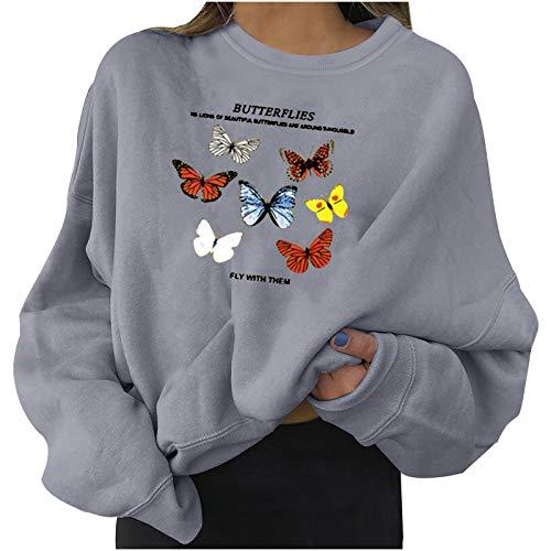 Sudaderas de moda para mujer con estampado de mariposas, estilo casual, color sólido, manga larga, elegante, talla grande, sudadera de jersey (opción de 4 colores)