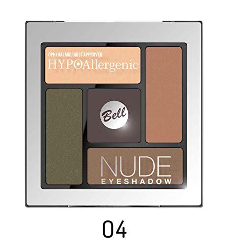 Bell HYPOAllergenic - Paleta de sombras de ojos, tonos nude, n.º 04, producto aprobado por oftalmólogos